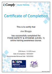 Food Hygiene (Level 1) Certificate Example