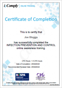 Infection Control Certificate Example
