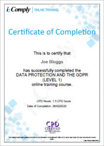 GDPR Level 1 Certificate Example