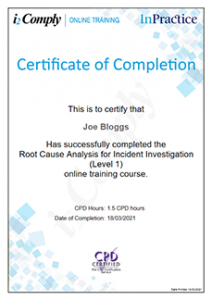 RCA Level 1 Example Certificate