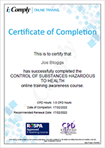 COSHH Awareness Certificate Example
