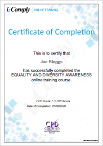 Equality and Diversity Awareness Certificate Example