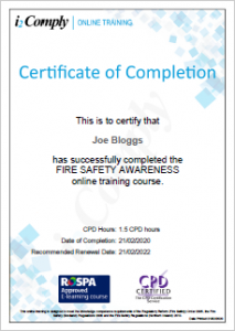 Fire Safety Awareness Certificate Example