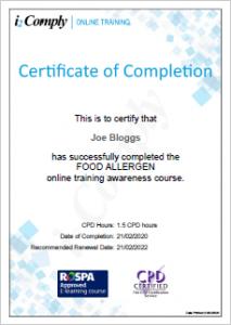 Food Allergen Awareness Certificate Example