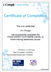 Food Hygiene (Level 2) Certificate Example