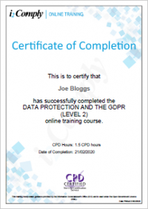 GDPR Level 2 Certificate Example
